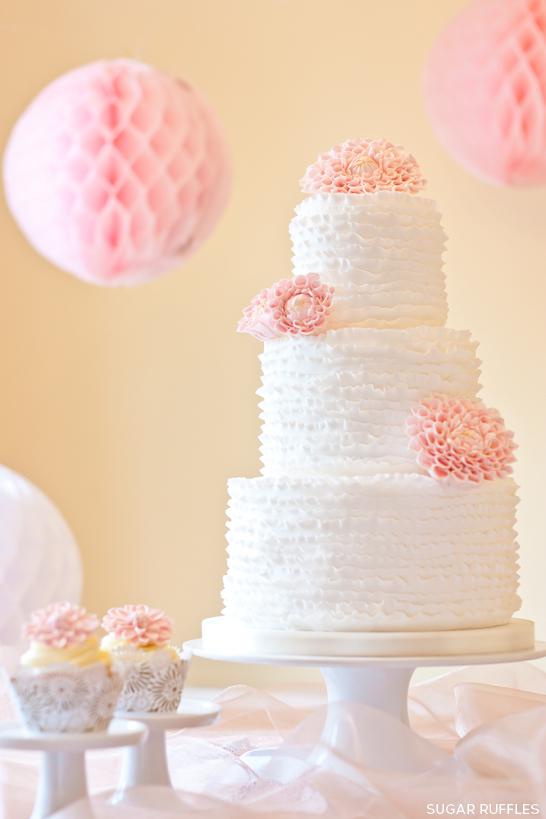 Ruffles Amp Dahlias Wedding Cake