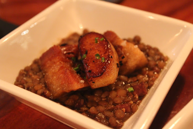 Lentils with pork belly at Cava, Portsmouth, N.H.