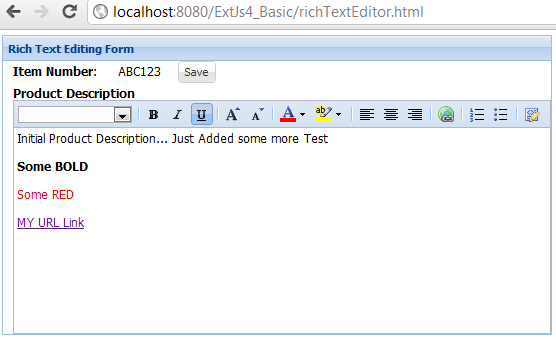 ExtJs Rich Text Editor Example
