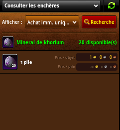 achat minerai de khoirum hotel des ventes wow