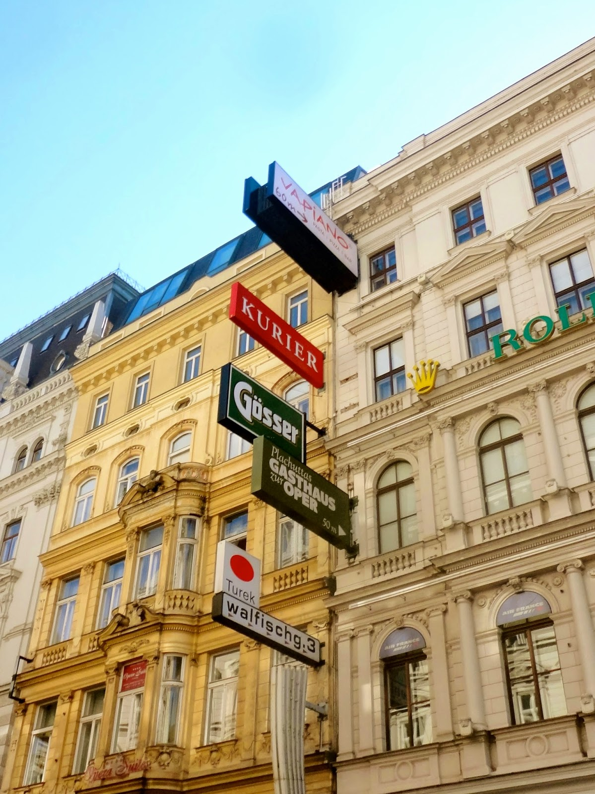 Building exterior with signs in Vienna, Austria