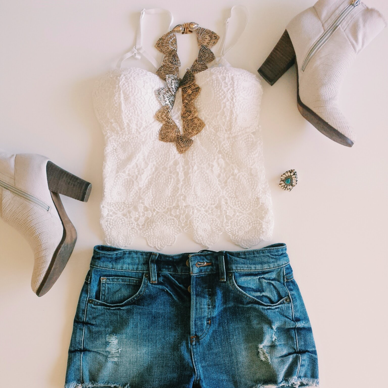 lace top denim high waist Guess shorts