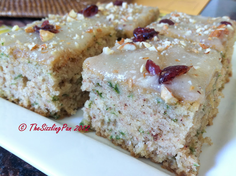 "and Delicious""- Eggless Spinach Cake and Zucchini Squares/ Veggie Cake ..."