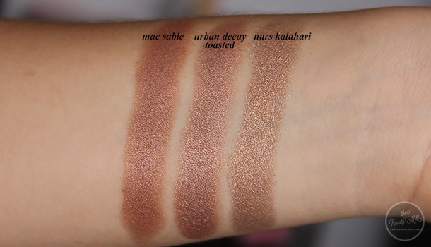 mac nyx urban decay nars mufe coastal scents highend drugstore eyeshadow dupes sumptuous olive kalahari sable copper pot