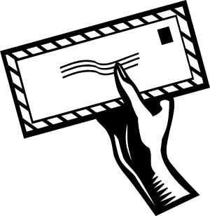 main qui tient une enveloppe (dessin)