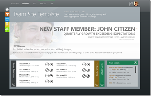 Designing and developing for sharepoint 2013 15 james sandbox updated mango style landing page of a new team site if its really going to look like this possibly a fake much better than a previous versions of pronofoot35fo Choice Image