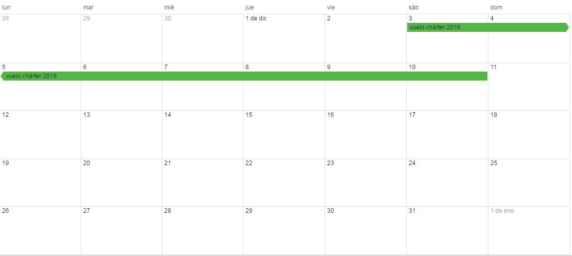 calendario vuelo chárter