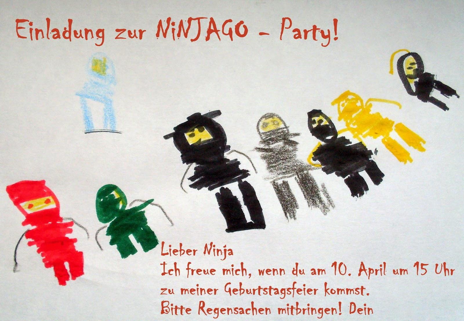 Ach Ja, So Sahen übrigens Die Einladungskarten, Zeichnung Aller Ninjas  Natürlich Vom Geburtstagskind, Handschriftlich Ergänzt Durch Namen Aus:
