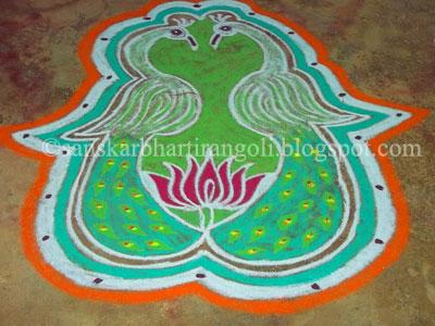 Mirror Image Peacock Rangoli - Sanskar Bharti Rangoli