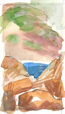 Rochers, pointe de Carqueiranne, aquarelle