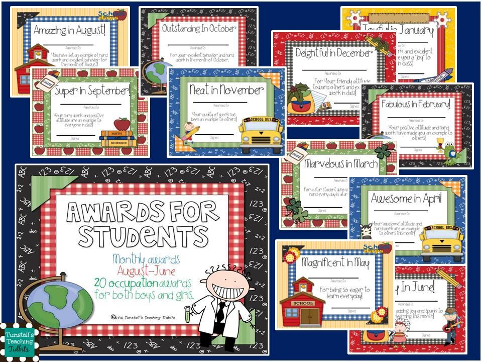 Classroom Award Ideas Elementary ~ New awards for students tunstall s teaching tidbits