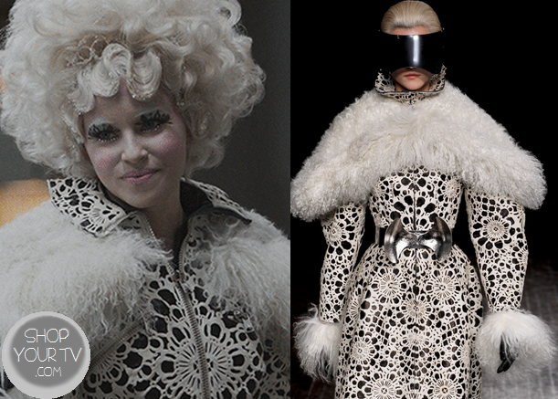 Catching Fire: Effie's Black and White Print Dress with Fur