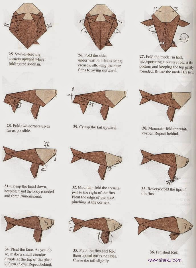 Projects Art And Craft Easy Origami Koi Instructions