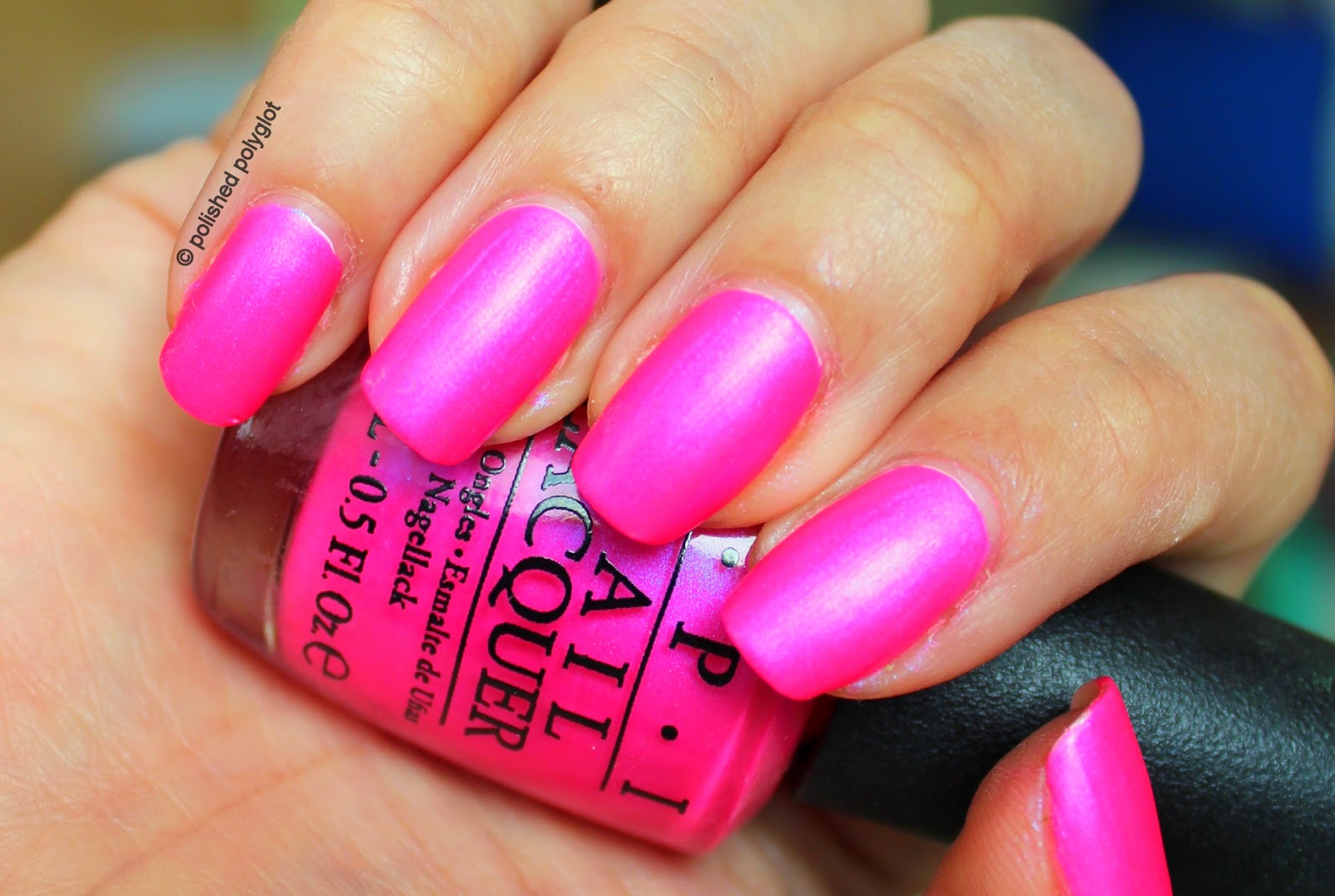 NOTD: OPI Hotter than you pink from Neon collection / Polished Polyglot