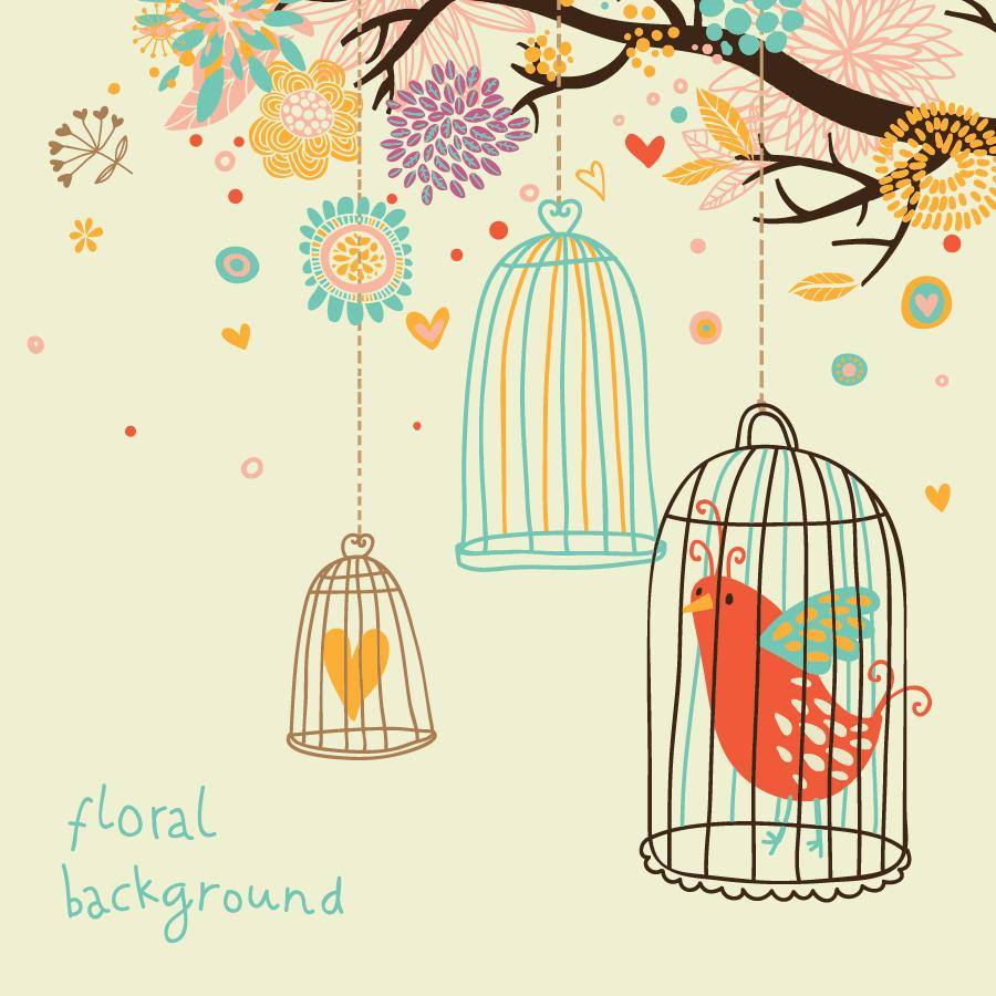 籠の鳥 cute birds vector イラスト素材