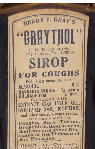 Antique cough syrups cannabis heroin chloroform etc