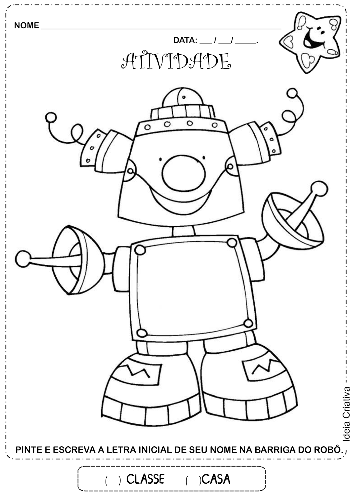 Atividade letra inicial Robô