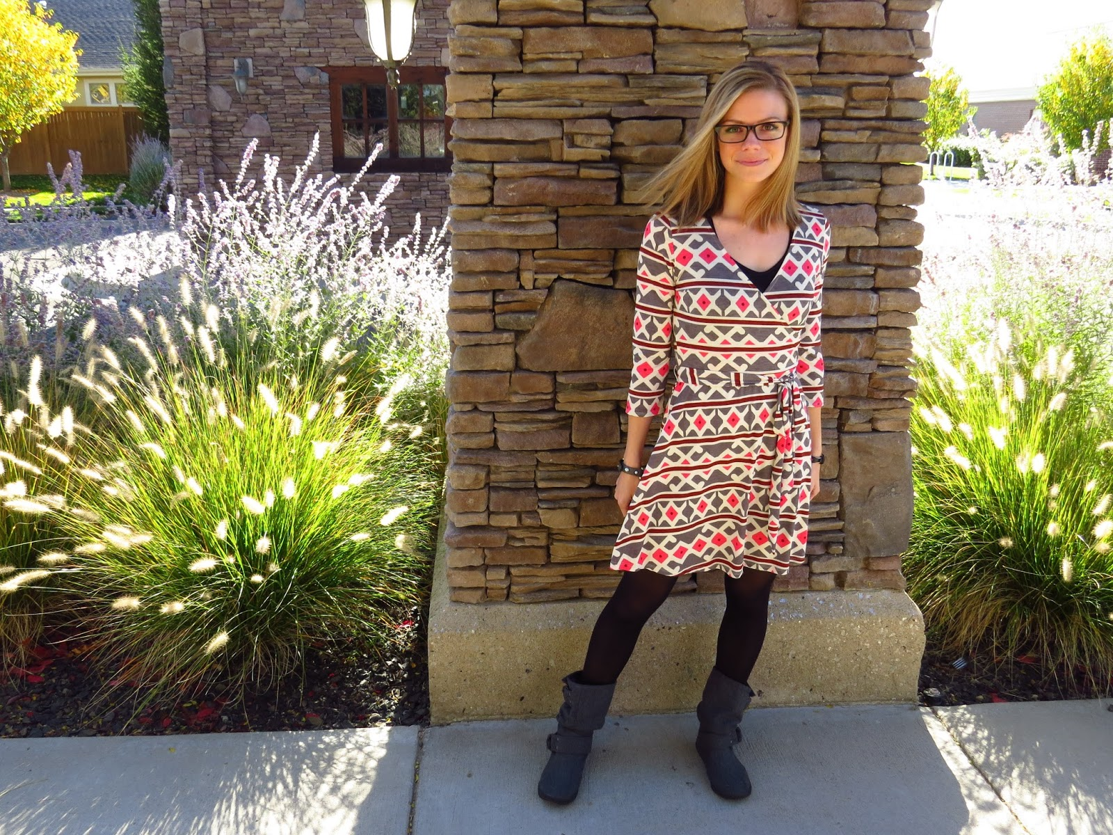 PinkBlush Printed Dress, Fall style with dress and boots