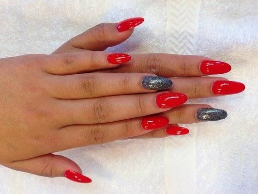 crystal acrylic sculpts almond shaped red-a-kill custom mix glitz over gunmetal grey LED-polish-design-manicure-OPI-Nail-Polish-Lacquer-Pedicure-care-natural-Gel-Nail-Polish-beauty-tips-Acrylic-backfill- Nails-Nail-Art-USA-UK