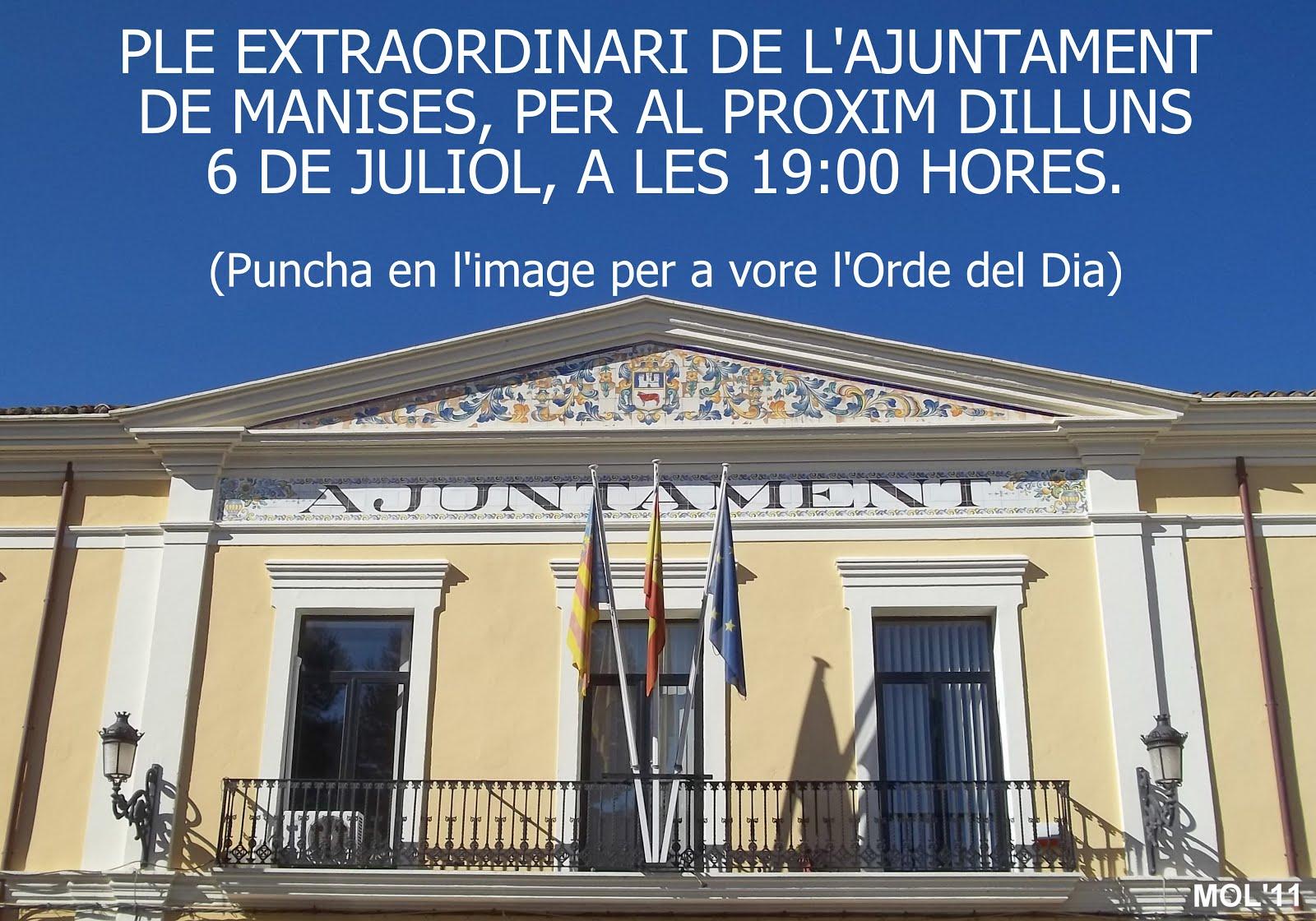 PLENO DEL AYUNTAMIENTO DE MANISES, 6 DE JULIO 2015