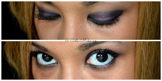 maquillage noir et prune
