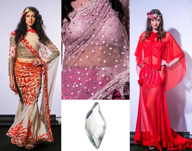 Swarovski Crystal Diamond Leaf Flatback Rina Dhaka IBFW2015