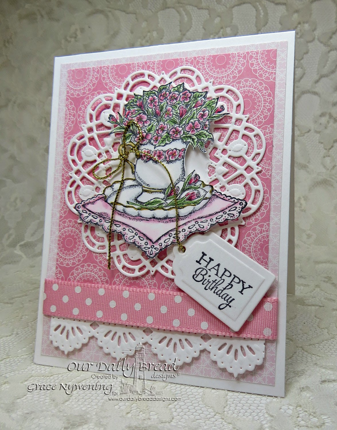 ODBD Stamps: Birthday Blessings, Birthday Doily, designed by Grace Nywening