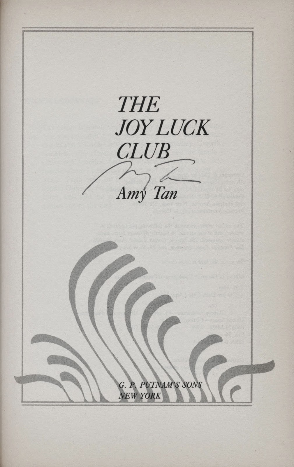 amy tan the joy luck club Amy tan reads the opening pages of her novel the joy luck club chapter one first chapter 1.