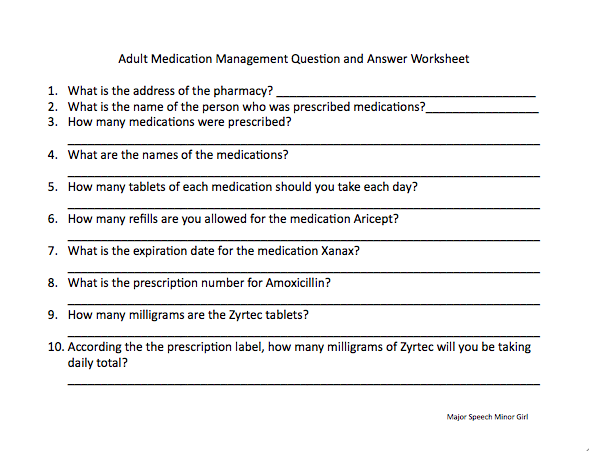 Speechie Freebies: Medication Management Worksheet