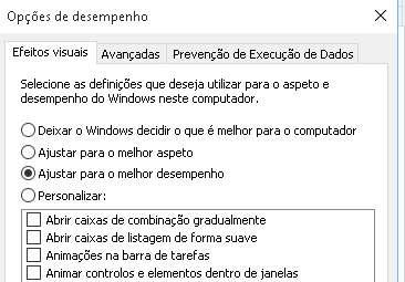 desativar animações do windows
