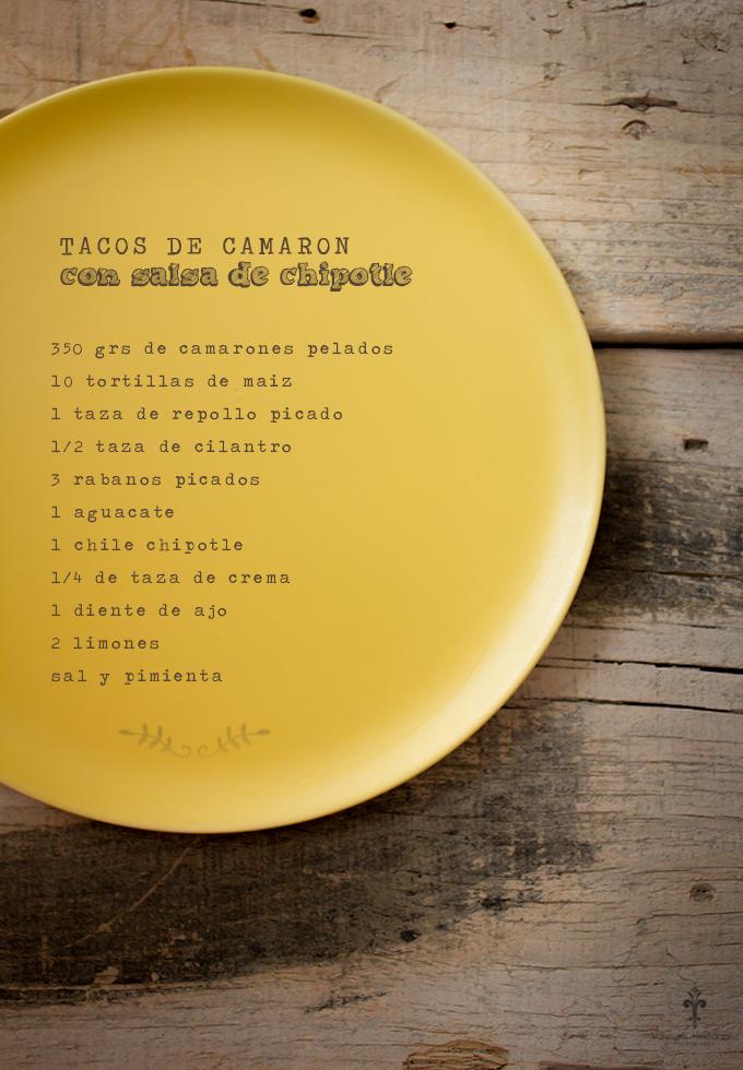 Tacos de Camarón con salsa de chipotle