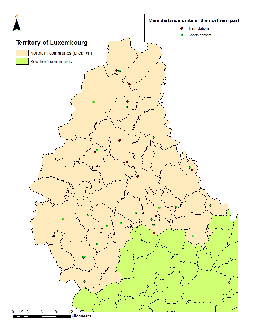 the following map shows all the train stations and centers that are actually situated in north of luxembourg train stations should be at least at 2 km and