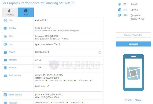 Samsung SM-G9198 dengan prosesor Snapdragon 808 muncul disitus GFXBench, Galaxy S6 Mini?