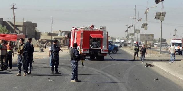 Polisi Irak mengamankan jalan raya yang menghubungkan Baghdad dan kota Suleiman Bek lokasi pembunuhan 14 pengemudi truk Syiah oleh kelompok militan Sunni