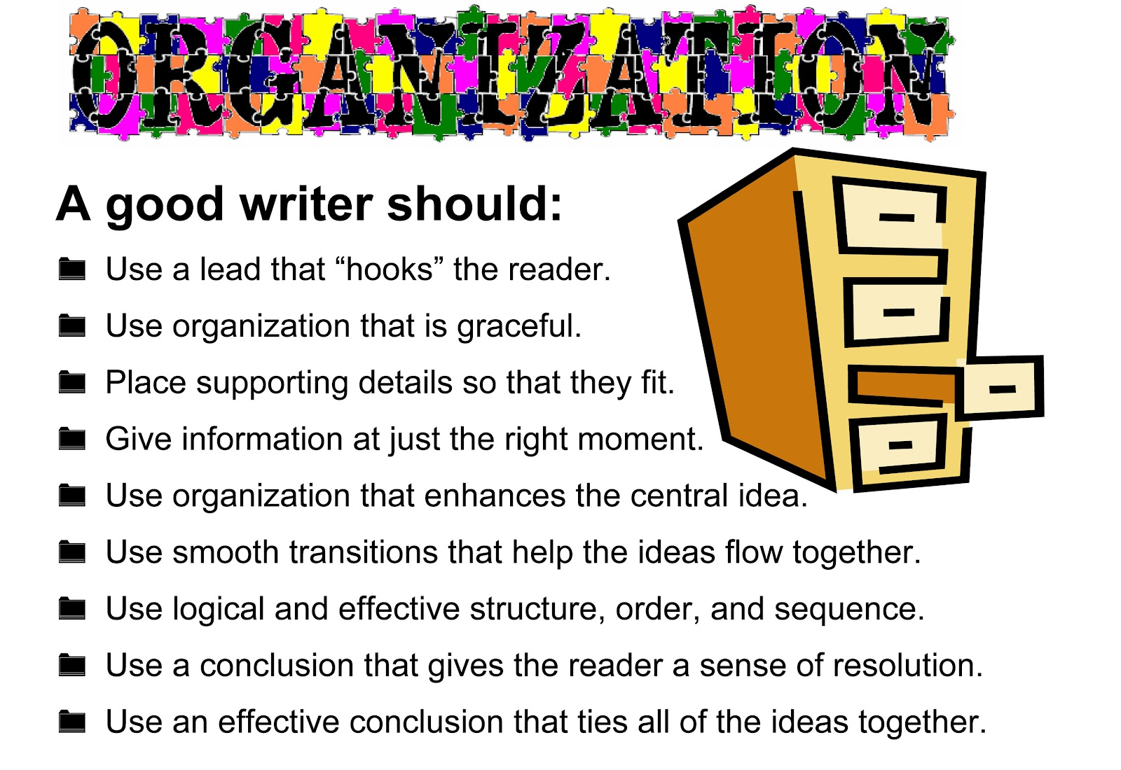 6 traits of writing organization Here you will learn how to develop students' writing skills by using the 6 traits of writing approach, as well as teaching activities for each component.