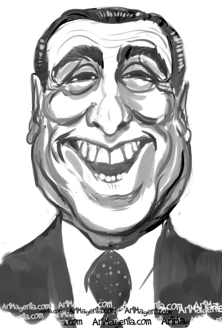 Silvio Berlusconi caricature cartoon. Portrait drawing by caricaturist Artmagenta.