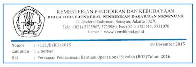 Persiapan Pelaksanaan Dana BOS 2016 Sesuai Surat Edaran Kemdikbud Nomor 7131/D/KU/2015