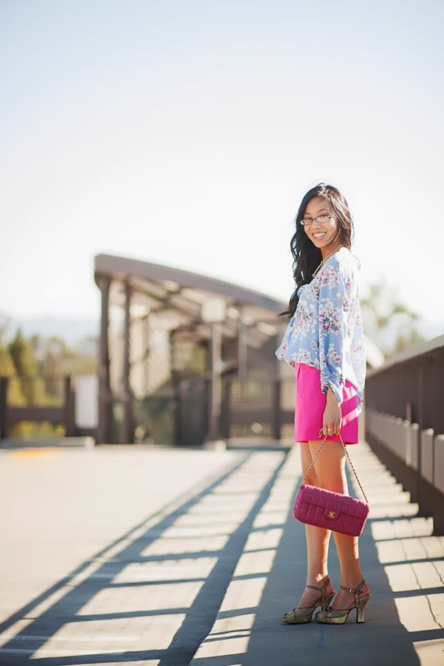 photography color block blue fuchsia outfit