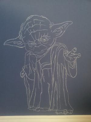 R2D2 AND C3P0 Star Wars Chalkboard Art diy