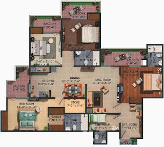 Albaria :: Floor Plans:-3 BHK Super Area - 1906 Sq Ft