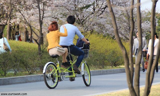 En bicicleta sin pedalear