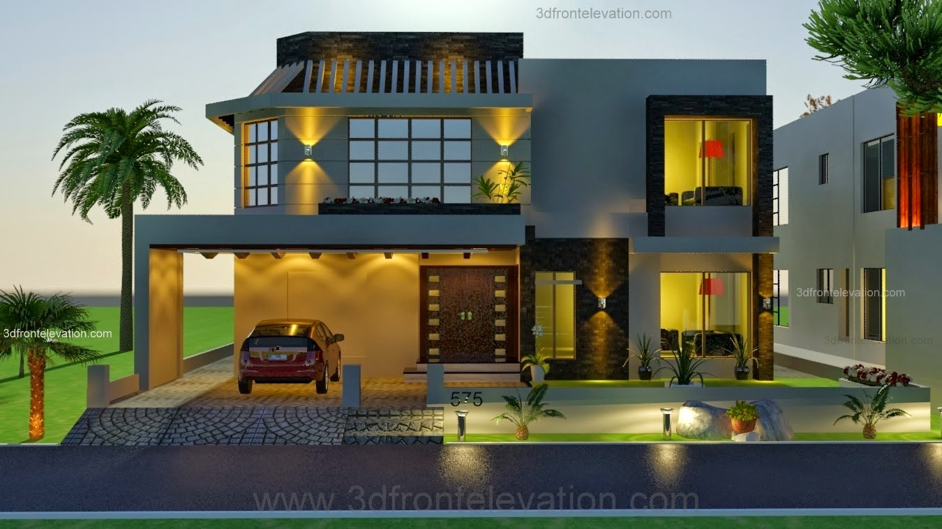 3d front 1 kanal house drawing floor plans for Bahria town islamabad home designs