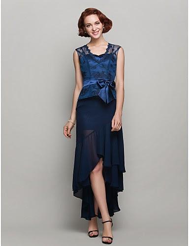 Vestido de Madrina negro y azul de gasa