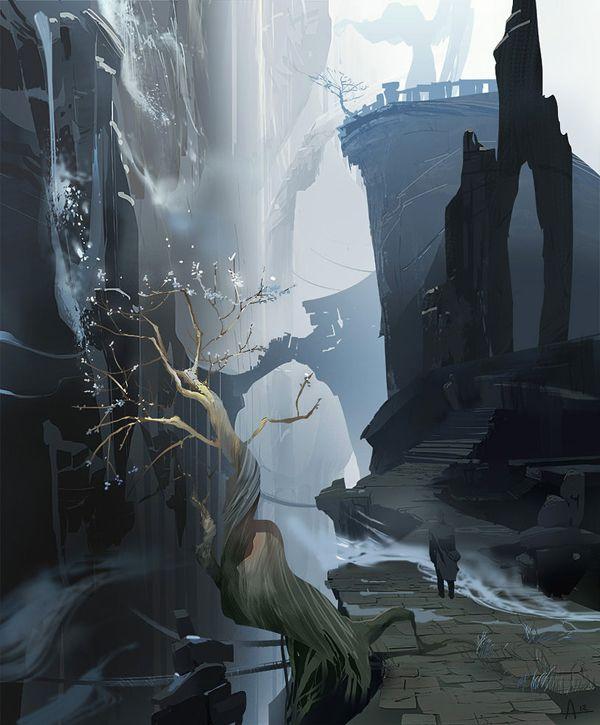 paisaje digital con cascada y un hombre