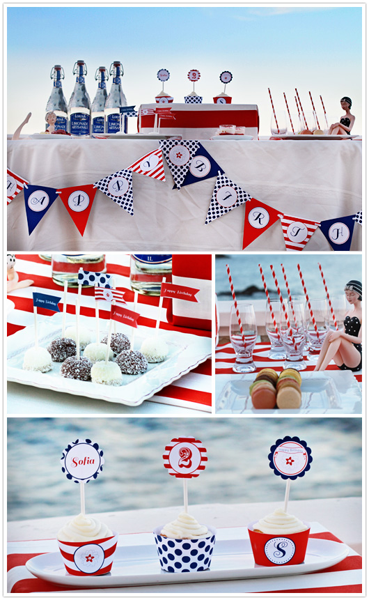 red white blue party tablescape