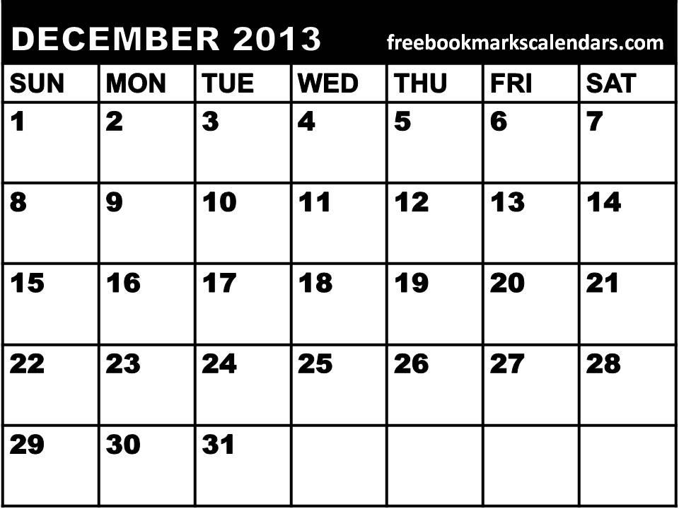 Blank December 2013 Calendar