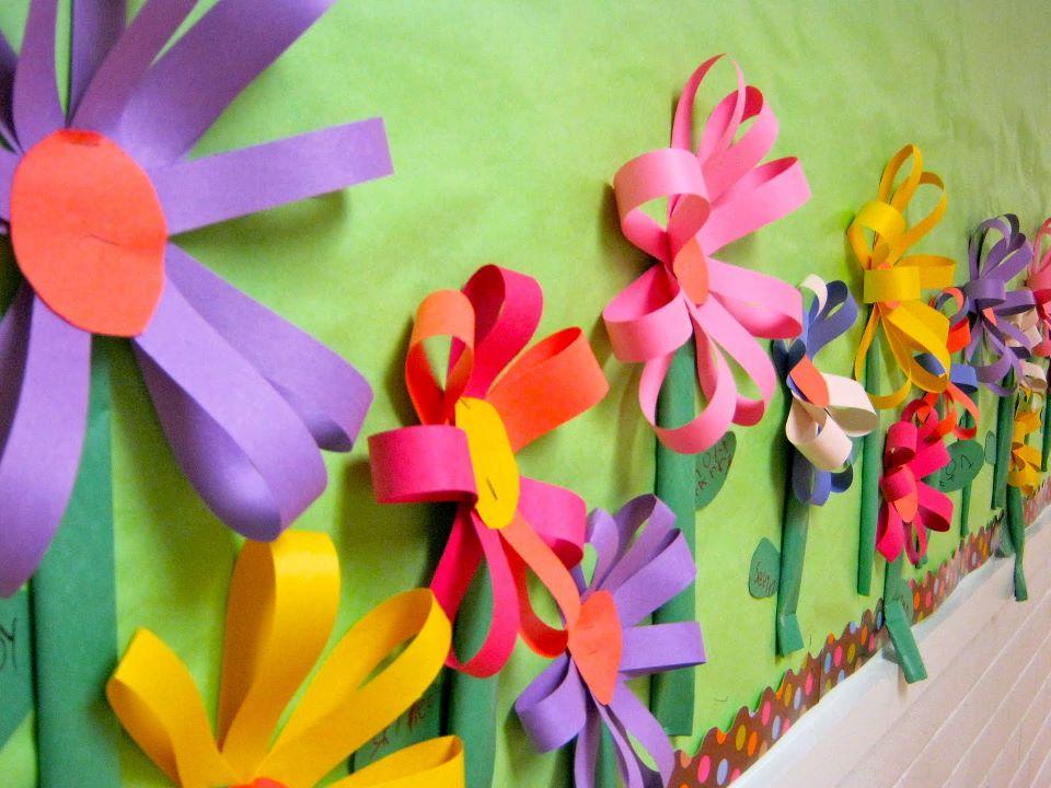decorar sala de kinder : decorar sala de kinder:Mural para o Dia das Mães feito com papel
