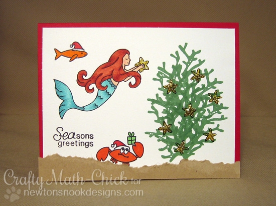 SEA-son's Greetings Mermaid Christmas Card by Crafty Math Chick | Stamp sets by Newton's Nook Designs