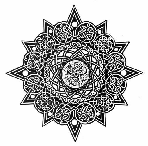 Celtic star knots circle tattoo stencil