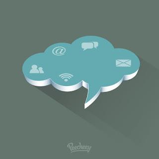 クラウド コミュニケーションのクリップアート Comunication cloud illustration イラスト素材